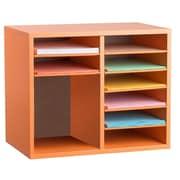 Adiroffice Wood Orange Adjustable 9 Compartment Literature Organizer (500 12 ORG) by