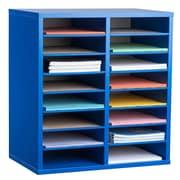 Adiroffice Wood Blue Adjustable 16 Compartment Literature Organizer (500-16-BLU)