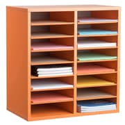 Adiroffice Wood Orange Adjustable 16 Compartment Literature Organizer (500-16-ORG)