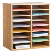 Adiroffice Wood Medium Oak Adjustable 16 Compartment Literature Organizer (500-16-MEO)