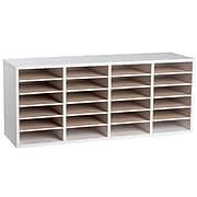 Adiroffice Wood White Adjustable 24 Compartment Literature Organizer (500-24-WHI)