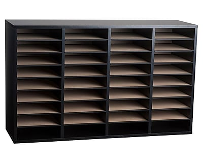 Adiroffice Wood Black Adjustable 36 Compartment Literature Organizer (500-36-BLK)