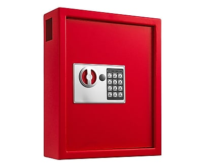 Adiroffice Red Steel 40 Key Cabinet With Digital Lock H 14.3