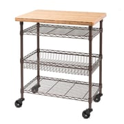 Seville Classics Kitchen Work Table Cart with Bamboo Top - Bronze (WEBK269)
