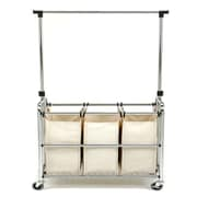 Seville Classics 3 Bag Laundry Sorter With Hanging Bar (SHE16165B)