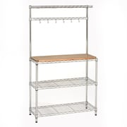 "Seville Classics UltraZinc Bakers Rack Workstation with Rubberwood Top - 36""H x 14""W x 63""D (SHE16369ZB)"