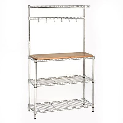 Seville Classics UltraZinc Bakers Rack Workstation with Rubberwood Top - 36