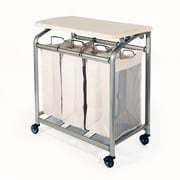 Seville Classics Mobile 3-Bag Heavy-Duty Laundry Hamper Sorter Cart /w Folding Table (WEB182)