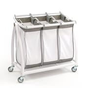 Seville Classics Premium 3-Bag Heavy-Duty Tilt Laundry Hamper Sorter Cart (WEB250)