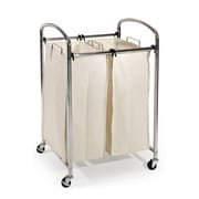 Seville Classics Mobile Double Bag Compact Laundry Hamper Sorter Cart, Chrome (WEB275)