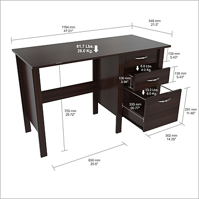 Inval America One File Drawer Writing Desk (ES-7103)