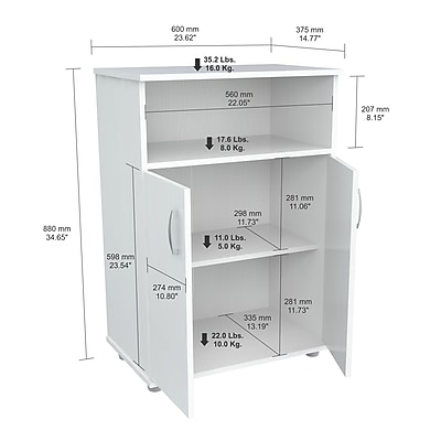 Inval America Microwave Cabinet Finished in Rich Laricina-White Laminates (MM-0207)