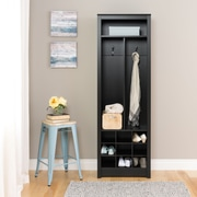 Prepac Space-Saving Entryway Organizer with Shoe Storage, Black (BSOH-0010-1)