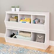 Prepac Monterey Stacked 6-Bin Storage Cubbie, White Set of 2 (WRSM-0003-2M)