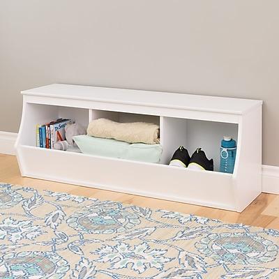 Prepac Monterey Stackable 3-Bin Storage Cubbie, White (WUSM-0003-1)