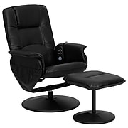 Flash Furniture Leather Massaging Recliner with Wrapped Base, Black