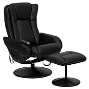 Flash Furniture Leather Massaging Recliner with Leather Wrapped Base, Black