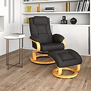 Flash Furniture Contemporary Leather Recliner and Ottoman, Black