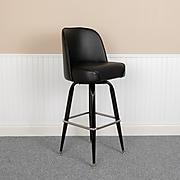 """Flash Furniture 42.5""""H Vinyl Seat, Metal Bar Stool, Black (XUF125)"""