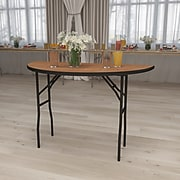 Flash Furniture 48'' Half-Round Wood Folding Banquet Table, Black/Natural