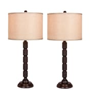 "Fangio Lighting Incandescent Industrial, Ribbed Table Lamp, 30.5""H, Oil Rubbed Bronze (W-1562ORB-2PK)"