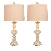 """Fangio Lighting Incandescent Distressed, Sculpted Candlestick Table Lamp, 26.5""""H, Cottage Antique White (W-6238CAW-2PK)"""