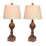 """Fangio Lighting Incandescent Distressed, Sculpted Column Table Lamp, 26.5""""H, Cottage Antique Brown (W-6239CABR-2PK)"""