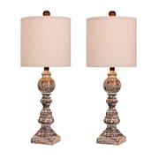"""Fangio Lighting Incandescent Distressed Balustrade Table Lamp, 26""""H, Cottage Antique Brown (W-6241CABR-2PK)"""