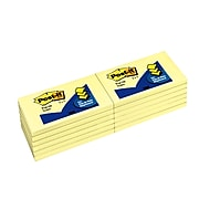 """Post-it® Pop-Up Notes, 3"""" x 5"""", Canary Yellow, 100 Sheets/Pad, 12 Pads/Pack (R350-YW)"""