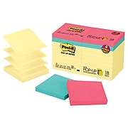 """Post-it® Pop-Up Notes Value Pack, 3"""" x 3"""", Canary Yellow, Assorted Colors, 100 Sheets/Pad, 18 Pads/Pack (R330-14-4B)"""