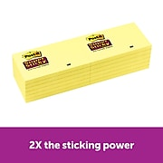 """Post-it® Super Sticky Notes, 3"""" x 5"""", Canary Yellow, 90 Sheets/Pad, 12 Pads/Pack (655-12SSCY)"""