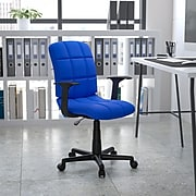 Flash Furniture Mid-Back Quilted Vinyl Task Chair With Nylon Arms, Blue