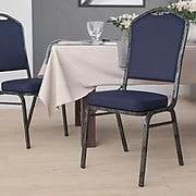 Flash Furniture Hercules Series Crown-Back Stacking Banquet Chair, Navy , 2.5'' Seat, Silver Vein