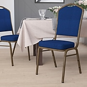 Flash Furniture Hercules Crown-Back Stack Chair, Navy Blue Patterned Fabric, 2.5'' Seat, Gold Vein
