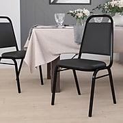 Flash Furniture Hercules Series Trapezoidal Back Stacking Banquet Chair w/Black, 1.5'' Seat, Black