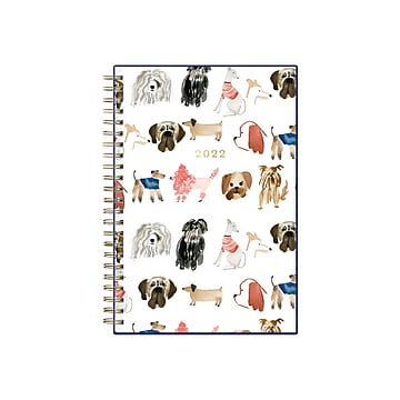 """2022 Jenna Rainey for Blue Sky Dogs 5.88"""" x 8.13"""" Weekly & Monthly Planner, Multicolor (139501)"""