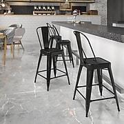 Flash Furniture 24'' High Metal Indoor/Outdoor Counter Height Stool, Black (CH3132024GBBK)