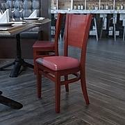 Flash Furniture Lacey Series Solid-Back Wood Restaurant Chair, Walnut w/Burgundy Vinyl Seat