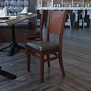 Flash Furniture Lacey Series Solid-Back Wood Restaurant Chair, Walnut w/Black Vinyl Seat