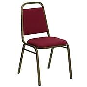 "Flash Furniture Hercules Burgundy Fabric Trapezoidal Back Stacking Chair, 1.5"" Seat, Gold Frame"