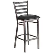 Flash Furniture HERCULES Ladder Back Metal Restaurant Barstool; Black Vinyl Seat (XUDG697CBARBKV)