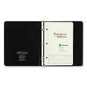 "Wilson Jones Looseleaf Phone/Address Book, 1"" Capacity, 5 1/2 x 8 1/2, Black Vinyl, 80 Sheets"