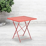 28'' Square Coral Indoor-Outdoor Steel Folding Patio Table [CO-1-RED-GG]
