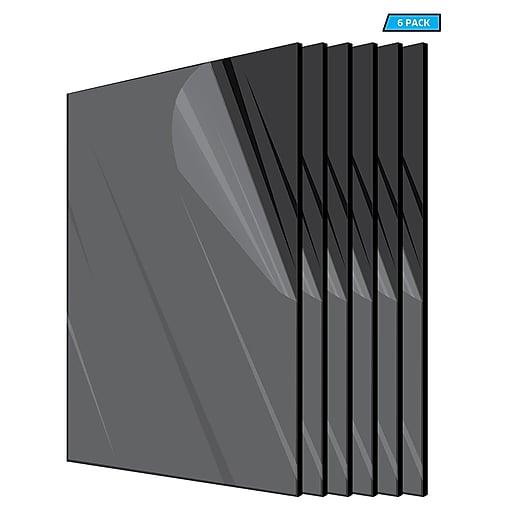 "Adiroffice Acrylic Black Water Resistant & Weatherproof Plexiglass Sheet, 24"" x 24"", 1/8"" Thick, 6/Pack (2424-6-B)"