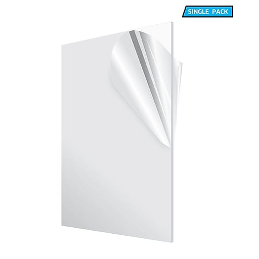 "Acrylic Clear Water Resistant & Weatherproof Plexiglass Sheet, 12"" x 24"", 1/8"" Thick (1224-1-C)"