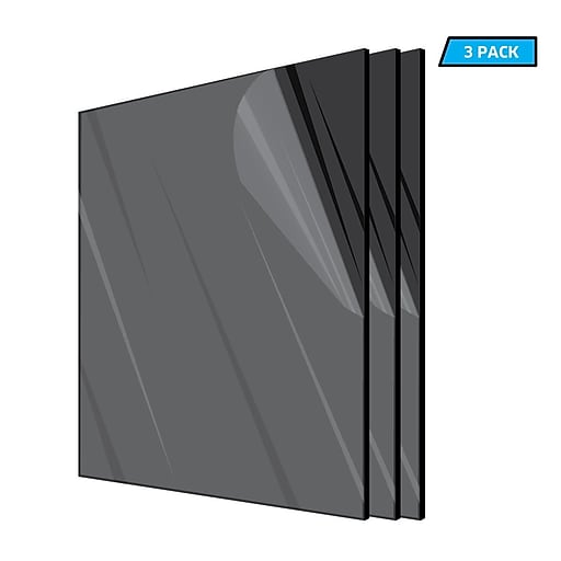 "Adiroffice Acrylic Black Durable Water Resistant And Weatherproof Plexiglass Sheet, 12"" x 12"", 1/8"" Thick, 3/Pack (1212-3-B)"
