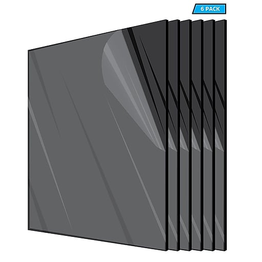 "Adiroffice Acrylic Black Water Resistant & Weatherproof Plexiglass Sheet, 24"" x 36"", 1/8"" Thick, 6/Pack (2436-6-B)"