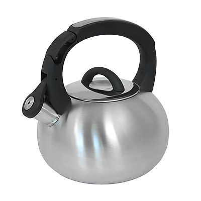 Mr. Coffee Piper Shine 2 Qt Whistling Tea Kettle, Stainless Steel