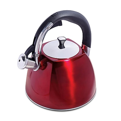 Mr. Coffee Belgrove 2.5 Qt Whistling Tea Kettle, Red