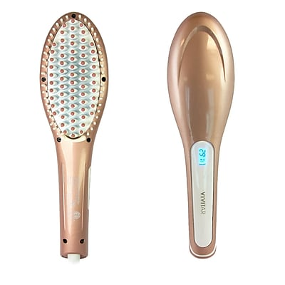 Vivitar Ceramic Straightening Hair Brush, Rose Gold (PG-7200RG)
